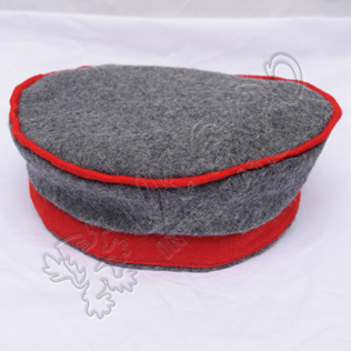 Historical Gray and Red Balmoral Hat