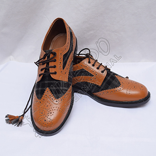 Hybrid Black and Gray Tartan Ghillie Brogues Shoes with Brown Color Leather with PU sole