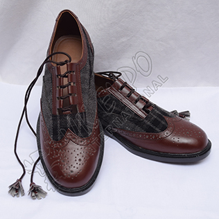 Hybrid Black and Gray Tartan Ghillie Brogues Shoes with Chocolate Color Leather