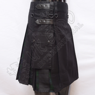 Hybrid Decent Black and Back Watch Tartan Box Pleat Utility Kilt Attached pockets