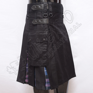 Hybrid Decent Black and Pride of Scotland Tartan Box Pleat Utility Kilt Attached pockets