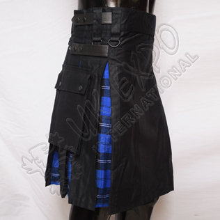 Hybrid Decent Black and Royal Ramsay Blue Tartan Box Pleat Utility Kilt Attached pockets