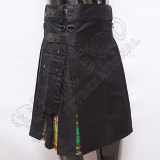 Hybrid Decent Black and Tara Murphy Tartan Box Pleat Utility Kilt Attached pockets