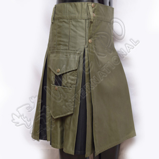 Hybrid Decent Box Pleat Utility Kilt Attached pockets Olive and Black Cotton