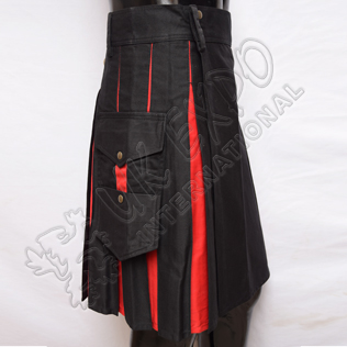 Hybrid Decent Box Pleat Utility Kilt Attached pockets Black and Red Cotton