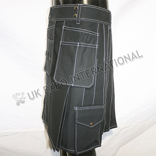 King Hybrid Black Utility Kilt With White Out Thread