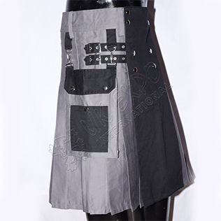 Hybrid Tactical Kilt with Detachable Pockets Black and Gray Cotton
