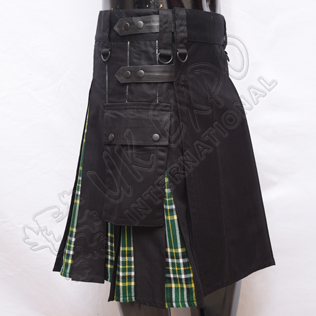 Hybrid Decent Black and Dark Irish Tartan Box Pleat Utility Kilt Attached pockets