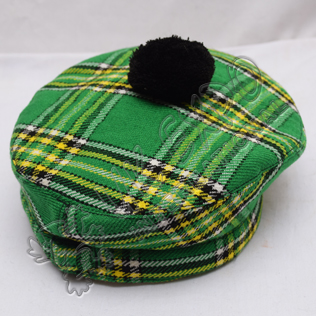Irish National Tartan Military Bonnet Hat with Black Pom Pom