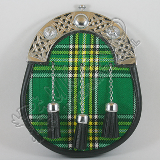 Irish National Tartan Sporran with celtic Cantle
