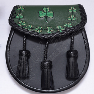 Irish Shamrock on Front and Edge Hand Embroidered with leather Tessels