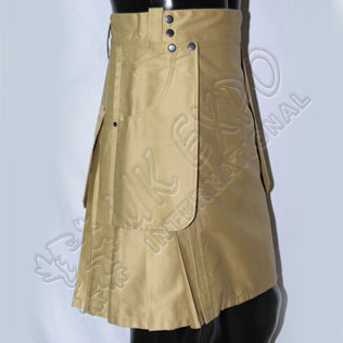 Khaki Color Casual Kilt