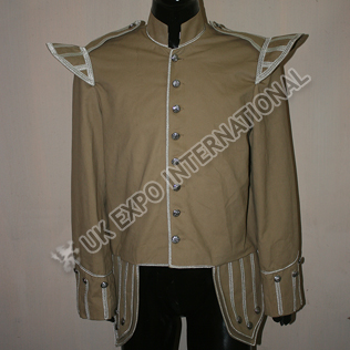 Khaki Color Doublet with Silver Braid and cord with Round Thistle Buttons
