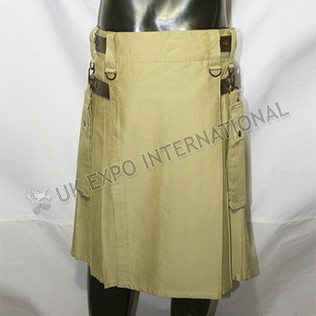 Men Khaki Utility kilts With 4 Brown color Leather Straps