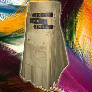 Laser Khaki Utility Kilts with 4 closing Straps