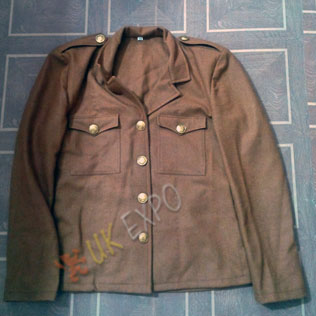 Khaki Military Jacket Wool Material Brass Buttons