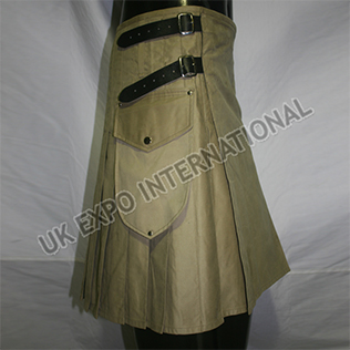 Khaki Modern Scottish Kilts with 3 Long Straps 3 Size adjustable