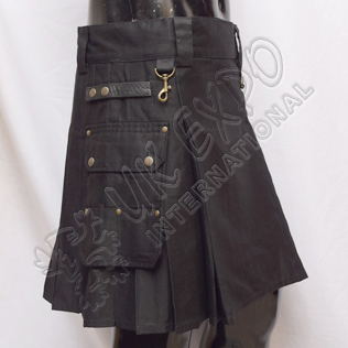 Ladies Black Heavy Duty Utility Kilts with 4 Straps closing