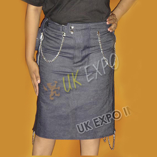 Ladies Blue Denim Jeans Kilt