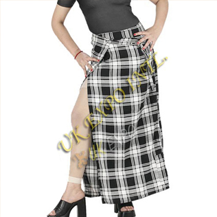 Ladies Long Tartan Skirts with tartan belt buckle and velcro closing one side Pocket