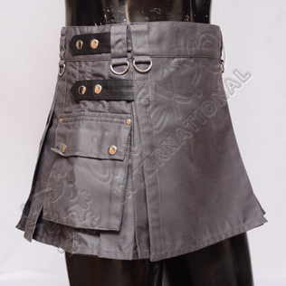 Ladies Utility Kilt Gray color four Leather straps and 2 Side pocket