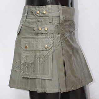 Ladies Utility Kilt Olive color four fabric straps 2 Side and one back poscket