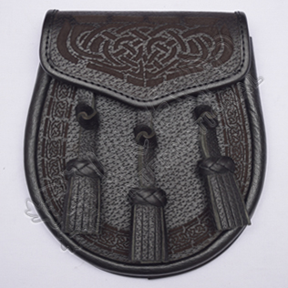 Laser Celtic Embossed Black Leather Sporran