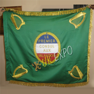 Napoleon I empereur des Francais a la legion Irlandaise flag Hand Embroidery on 100% silk Fabric
