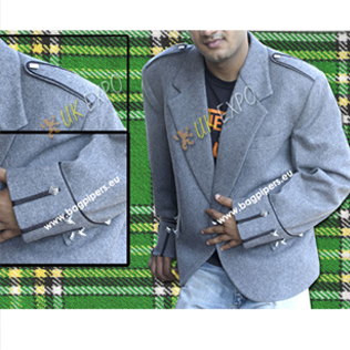 Light Gray Argyle Jacket With Black Lace Piping
