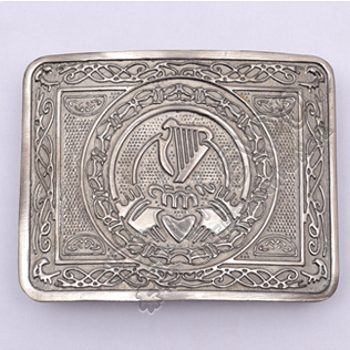 Love Heart Harp Celtic Shiny Antique Kilt Belt Buckle