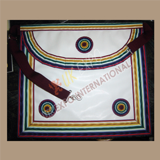 Masonic Bag White Leather Multi Color Ribbon and marron Strap 3 rosetts