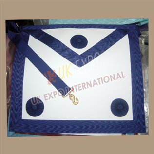 Masonic Bag White Leather NavyBlue Robbon 3 Rosetts