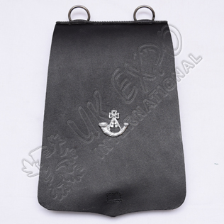 Medieval Black Leather Pouch With Metal Badge