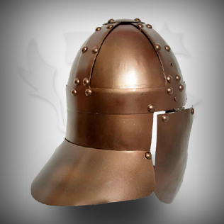 Medieval Head Armor in Ancient Copper