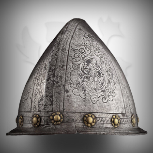 Medieval Head Armor in Ancient Silver