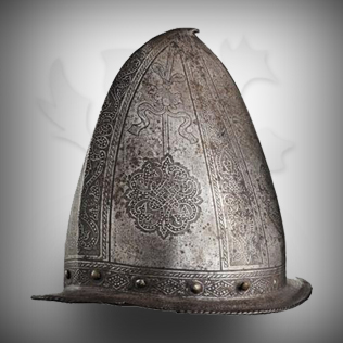 Medieval Head Armor in Ancient Silver With designs