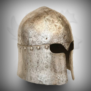 Medieval Head Armor in Ancient Silver With Rough designs