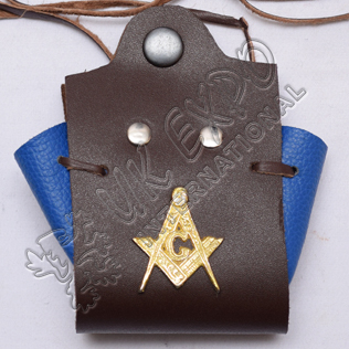 Medival Masonic Coin Pouch Blue and Brown leather