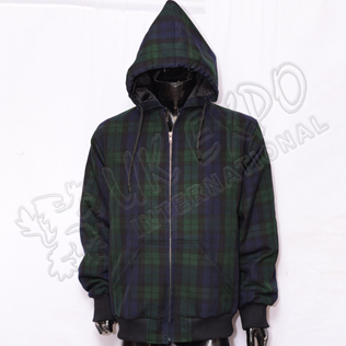 Men Black Watch Tartan Hooded