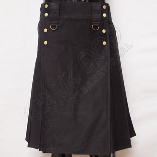 MEN EXE Black Utility Kilt With Sports Casual Pocket