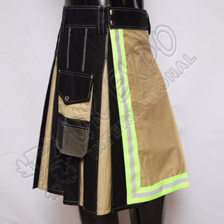 Men Khaki and Black Fire Fighter Green Color Tape Utility Kilt