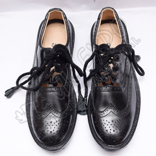 Men Traditional Celtic Black Leather Ghillie Brogues