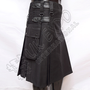 Mens TKN The Nation Kilt Black Heavy Duty Utility Kilt