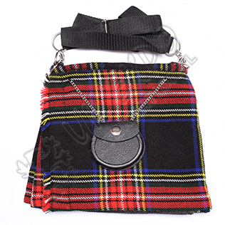 Modern Black Stewart tartan Ladies Kilt BAg