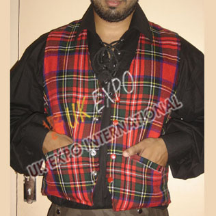 Modern Black Stewart Tartan Vest with Red color