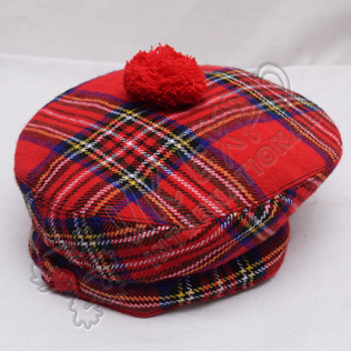 Modern Royal Stewart Tartan Military Bonnet Hat with Red Pom Pom