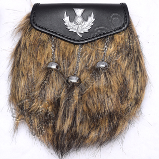 Multi Color Artificial Long Hair Fur with large size scottish Thistle Badge