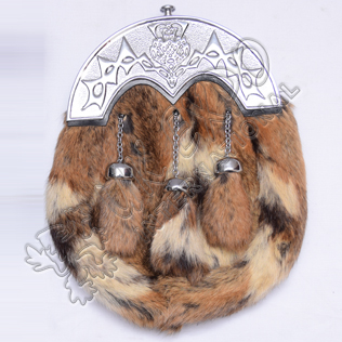 Multi Rabbit Fur Sporrans with Scottish Frolwer Cantle