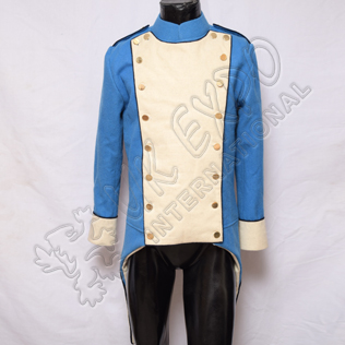Napoleonic British French Jacket White Front and Cuff Black Piping With Sky Blue Main body