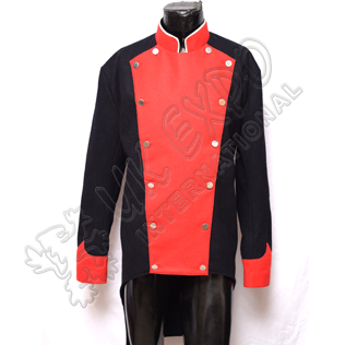 Napoleonic British French Jacket Dark Blue Main Body With Red Front Colar and Cuff